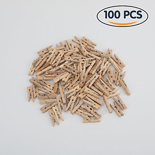 Tenn Well Mini Wooden Pegs, 100pcs 1Inch Natural Wooden Clothespins for Photos, Crafts, Home Decoration and Party (Natural)