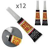 beiguoxia 12Super Starke Klebstoff, multifunktional stark haftend für Home Office Sekundenkleber Werkzeug Schwarz