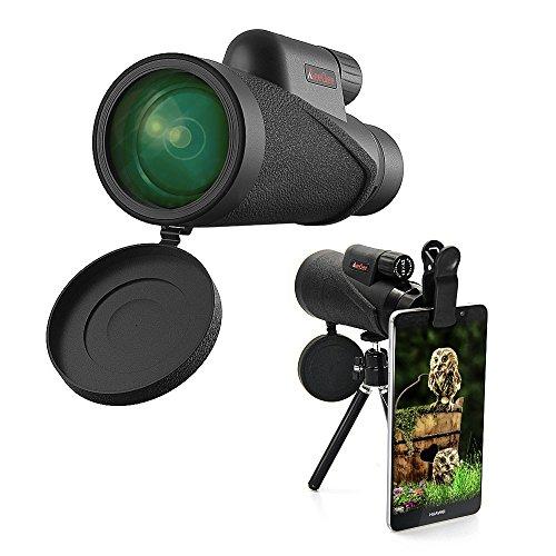 MeeQee 10X42 Monokulares Hochleistungsteleskop mit doppelfukussierender Weitwinkelansicht und HD Zoom View, Wasserdicht, Mini Nachtsicht, einfach mit einer Hand zu bedienen, optimal geeignet für Vogelbeobachtung/Jagd/Outdoor/Camping