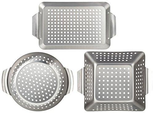 Heimwert - set di 3 griglie per barbecue in acciaio inox di prima qualità universali e molto resistenti