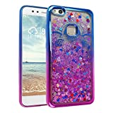 P10 Lite Liquid Case, Asnlove Handyhülle mit Flussigem Glitter 3D Kreativ Allmähliche Hard Case Hülle Cool Floating QuickSand Luxury Shiny für Huawei P10 Lite 2017 - Mandala Lila Blau