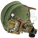 NGT Camo40 Carp Free Runner 3BB Fishing Reel Set with 12lb Line + Spare Spool + Case
