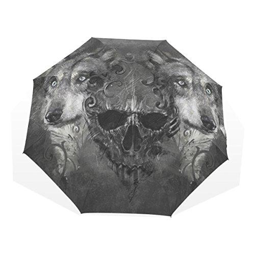 GUKENQ Paraguas de Viaje Scary Wolf con Calavera, Ligero, Anti Rayos UV, para Hombres, Mujeres, niños, Resistente al Viento, Plegable, Paraguas Compacto