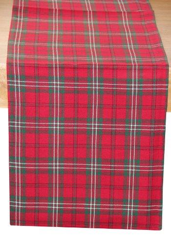 (Homescapes Weihnachtlicher Tischläufer Edward Tartan 45 x 180 cm mit Schottenmuster aus 100% Baumwolle)