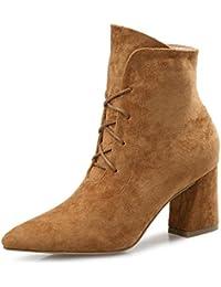 KPHY-Los Nuevos Zapatos De Mujer Invierno E Invierno Nuevos Zapatos De Mujer Señaló Botas Gruesas Con Una Correa...