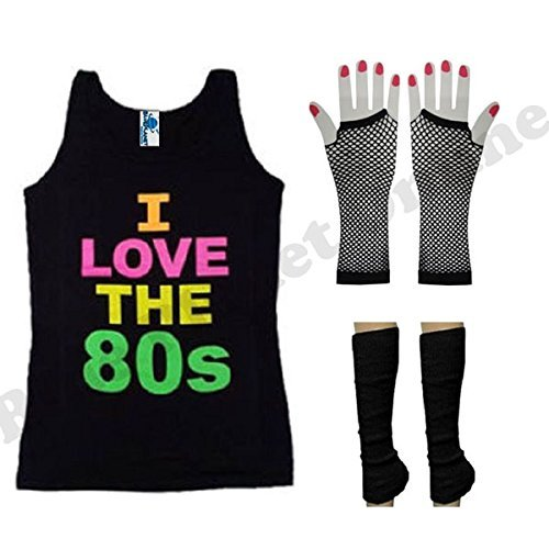 I Love the 80s Vest Costume with Legwarmers and Fishnet Gloves