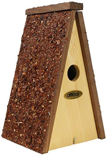 dobar Dekorativer Vogelhaus Nistkasten für Wildvögel zum Aufhängen aus Holz, Nisthilfe mit Rindendächern