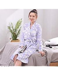 YSFU Albornoces Pijamas Albornoz De Algodón para Mujer Bata De Baño De Manga Larga para Mujer