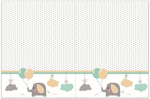 PROCOS 90651 - Mantel de plástico, diseño de Elefante, Color Blanco
