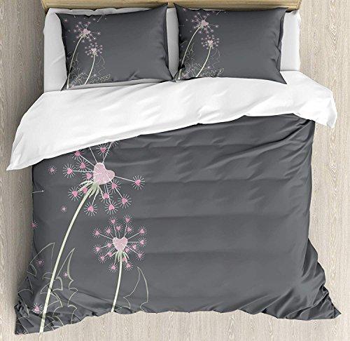 Bettwäsche-Set aus hellem Mikrofaser, mit Reißverschluss, Pusteblumen-Blumen und Herzen, Pastell, für Einzelbett, Pink/Grau/Hellgrün, Polyester-Mischgewebe, Multi, Super King -