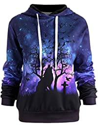 Hannea Halloween Galaxy and Wolf Print Drawstring Hoodie