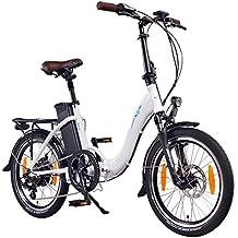 """NCM Paris 20"""" Bicicletta elettrica pieghevole, e-bike pieghevole con motore posteriore Das-Kit da 36V 250W, batteria Li-ion rimovibile 36V 15AH, freni a disco Tektro, cambio Shimano, pneumatici Schwalbe (20"""" Bianco)"""