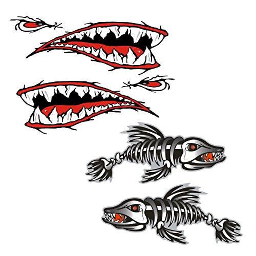 MagiDeal 4Stück Skelett Fisch Shark Mund Kanu Kajak Aufkleber Fischerboot Grafiken