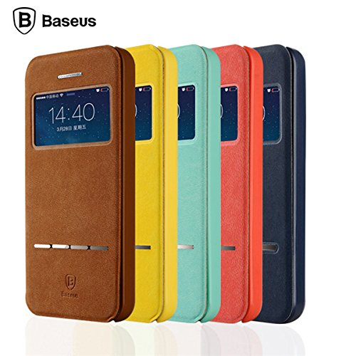 BASEUS Smart Touch Slim Flip Stand Case Voir Fentre de couverture Sac Pour Apple iPhone 5 5S marron