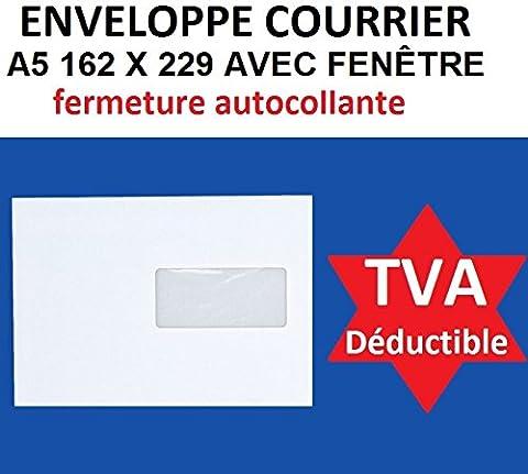 lot de 100 enveloppe courrier A5 avec fenêtre - C5 papier velin blanc 90g format 162 x 229 mm une enveloppe blanche avec fermeture bande adhésive autocollante siliconnée