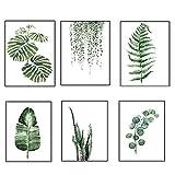 grüne Blätter Leinwand Gemälde Wandkunst moderne Zeichnung für Wohnzimmer Schlafzimmer Küche Büro Esszimmer Dekoration von yunhigh (kein Rahmen)