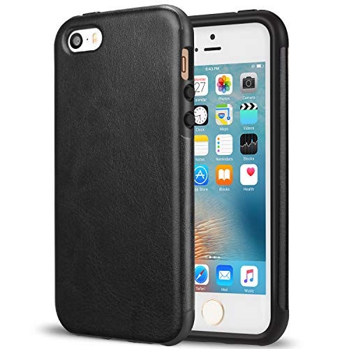 TENDLIN iPhone SE Hülle Leder mit Flexiblem TPU Silikon Hybrid Schutzhülle für iPhone SE 5S 5 (Schwarz)
