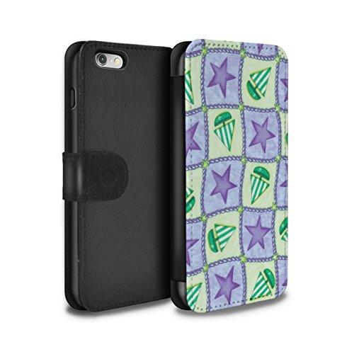 Stuff4 Coque/Etui/Housse Cuir PU Case/Cover pour Apple iPhone 6 / Vert/Rouge Design / Bateaux étoiles Collection Pourpre/Vert