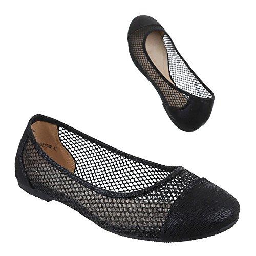 Damen Schuhe, DM9813-W, BALLERINAS ÜBERGRÖßEN LEICHTE Schwarz