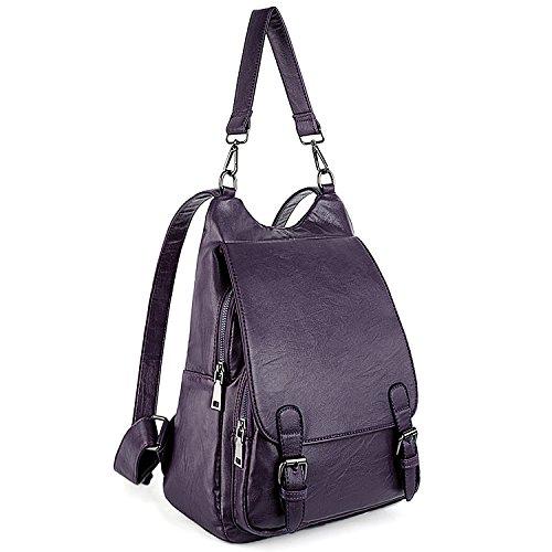 UTO Damen Backpack Purse PU Washed Leder gross Capacity Ladies Rucksack Schultertasche lila