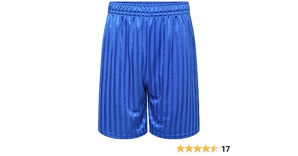 Maass Boys Girls Adult Unisex Royal Blue PE School Shadow Stripe Shorts Football Gym Sports Short