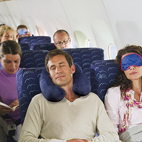 Travel Pillow, MLVOC U Shaped Neck Pillow Inflatable Neck Support Cushion with EarPlugs, Eye Mask, and Drawstring Bag for Travel with Airplane, Trains, Cars (Blue)