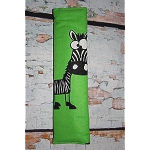 Auto Gurtpolster für Kinder und Erwachsene grün mit lustigem Zebra