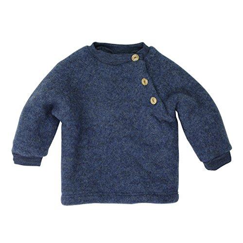 Engel Raglanpullover - blau melange - 50/56 (Baby-wolle-kleidung)