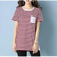 TAIDUJUEDINGYIQIE Camiseta Manga Corta Mujer Suelta Verano, Rojo y Blanco, 3XL