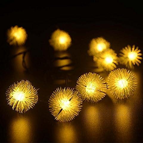 lederTEK Solaire Imperméable fées Chuzzle Guirlandes lumière 4.8M 20 LED 2 modes Globe de cristal de Noël Lampe décorative pour extérieure, jardin, Accueil, Mariage, Arbre de Noël du Nouvel An (20 LED Blanc Chaud)