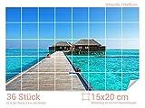 Graz Design 761013_15x20_90 Fliesenaufkleber Strand-Haus im Meer | Bad-Fliesen mit Fliesenbildern überkleben (Fliesenmaß: 15x20cm (BxH)//Bild: 135x90cm (BxH))