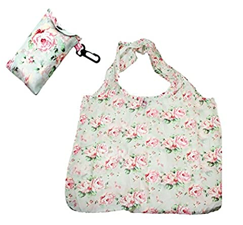 Floral / Flower Design Fold Up Shopping Bag In Pouch With Clip Attachment - Design 3