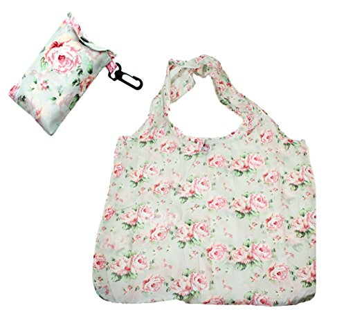 floral-flower-design-fold-up-shopping-bag-in-pouch-with-clip-attachment-design-3
