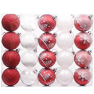 Valery Madelyn 20 Piezas Bolas de Navidad de 6cm, Adornos Navideños para Arbol, Decoración de Bolas de Navidad Inastillable Plástico, Regalos de Colgantes de Navidad