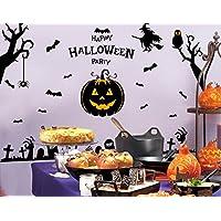 Skyllc® Eco-friendly Haunted Halloween Pumpkins Wzard autoadesivi della finestra e adesivi murali decorative per Living Room