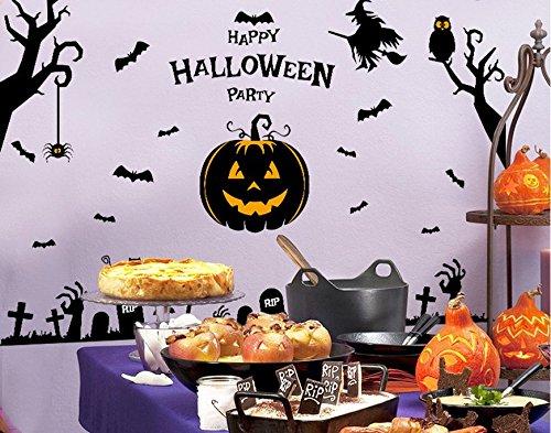 dlich Spuk Halloween Kürbisse Wzard Fenster Aufkleber und dekorative Wand Aufkleber für Wohnzimmer (Halloween-kürbis-designs Schablonen)