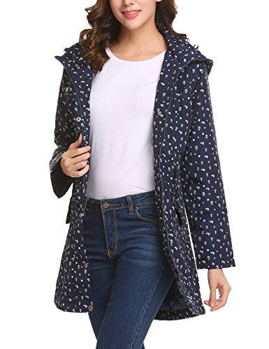 Parabler Damen Softshelljacke Leichte Jacke Übergangsjacke Winterjacke Outdoor Winddichte Jacke mit Hoher Kragen und Kapuze aus hochwertigem Material Marine