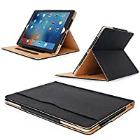 MOFRED® New Black & Tan Apple iPad Pro 12.9 inch (Launched 2017) Leather Case-MOFRED®- Executive Multi Function Leather Standby Case for Apple New iPad Pro 12.9