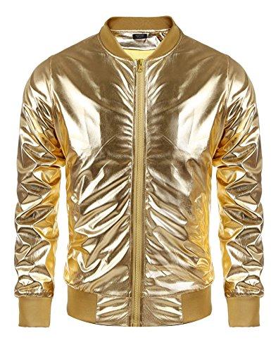 Coofandy Mens Casual Metallic Nightclub Style Zip Up Baseball Bomber Slim Fit Jacket