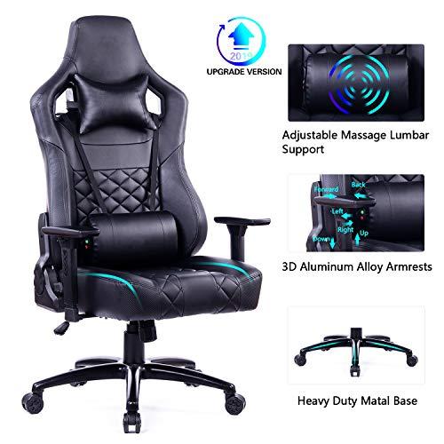 Blue Whale Großer und großer Gaming-Stuhl mit Massage-Lendenwirbelkissen, ergonomisch, PU-Leder-Stuhl, hohe Rückenlehne, Büroschreibtisch-Stuhl mit robuster Matel-Basis Black6182 (Für Gaming Stühle Teen)