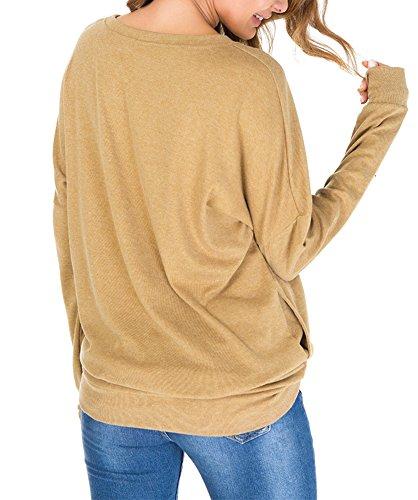 YOSICIL Femme Col Rond T-Shirt Lâche Grande Taille Basique Manches Longues Tops Casual Chemise Tee-Shirt Blouse Pull Sweat-Shirt Couleur Unie Printemps Automne YOSICI Jaune