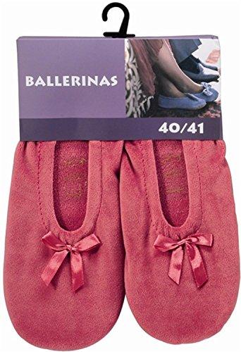 Damen Ballerinas mit echter Rindsledersohle als Hausschuh oder für leichten Sport Farbe Rose Größe 36/37