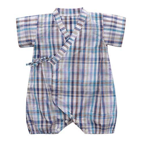 LSAltd Sommer Neugeborenen Jungen Mädchen Nette Blumendruck Kreuz V-Ausschnitt Lace Up Baumwolle Kimono Overall