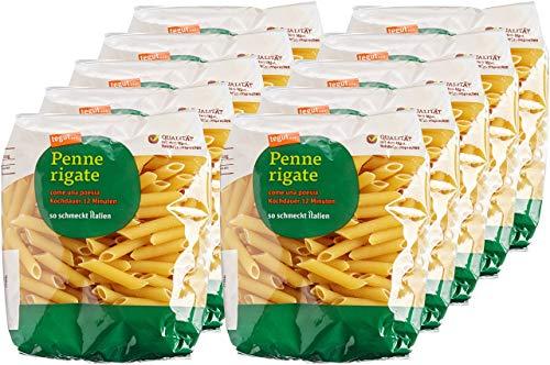 tegut... 5kg Italienische Nudeln Pasta Penne Rigate - Teigware aus 100% Hartweizengrieß Vorteilspack 10er Pack (10 x 500 g) - Spezialität aus Italien