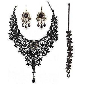 BagTu Schwarzes Spitzen Collier und Ohrringe Set, Gothic Lolita Schwarzer Anhänger Halsreif für EIN Halloween Kostüm und Hochzeit (Schwarz)