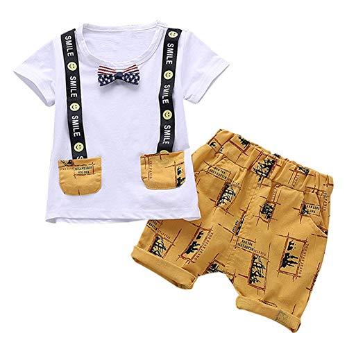 KOKOUK Neugeborene Jungen Outfits für Jungen Kurzarm Tops mit Florale Kurze Hosen 2 Stück 0-4Jahre