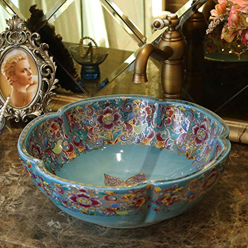 Rttgor lavabo da appoggio armadio da bagno vaso dipinto a mano lavello da bagno lavandino tondo bacino in ceramica artistica