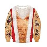 XBTECH Maglioni Natalizi Unisex Brutto Divertente novità Stampato 3D Maglione Pullover Top con Tasca Inverno Felpa di Natale Renna,2,XL