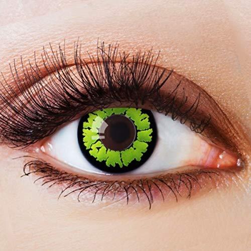 Farbige Kontaktlinsen Grün Motivlinsen Ohne Stärke mit Motiv Grüne Linsen Halloween Karneval Fasching Cosplay Kostüm Green Vampir Reptil Eye