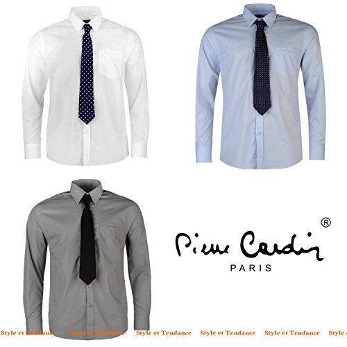 Pierre Cardin Chemise avec Cravate pour Homme Neuve Blanche Bleue ou Grise Unie